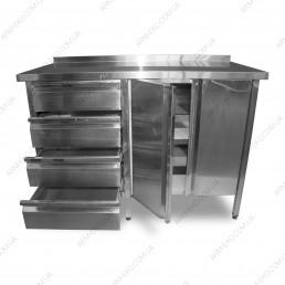 Стол-тумба с ящиками и распашными дверями