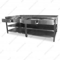 Стол производственный с выдвижными ящиками, 2 полки