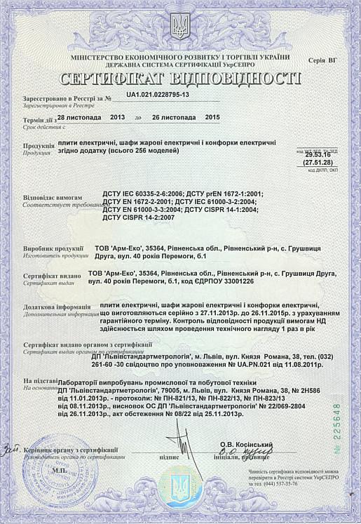 Сертификат плит с жарочным шкафом