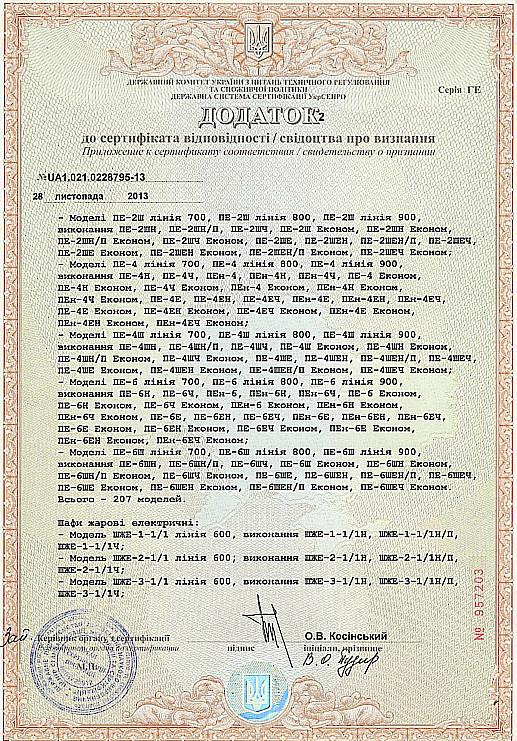 Приложение к сертификату 2